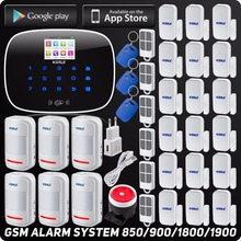 ISO Android App Sterowania GSM Bezprzewodowy System Alarmowy W Domu zestaw z motion detektor quard zespół sms sms rfid automatycznego wybierania numeru czujnik
