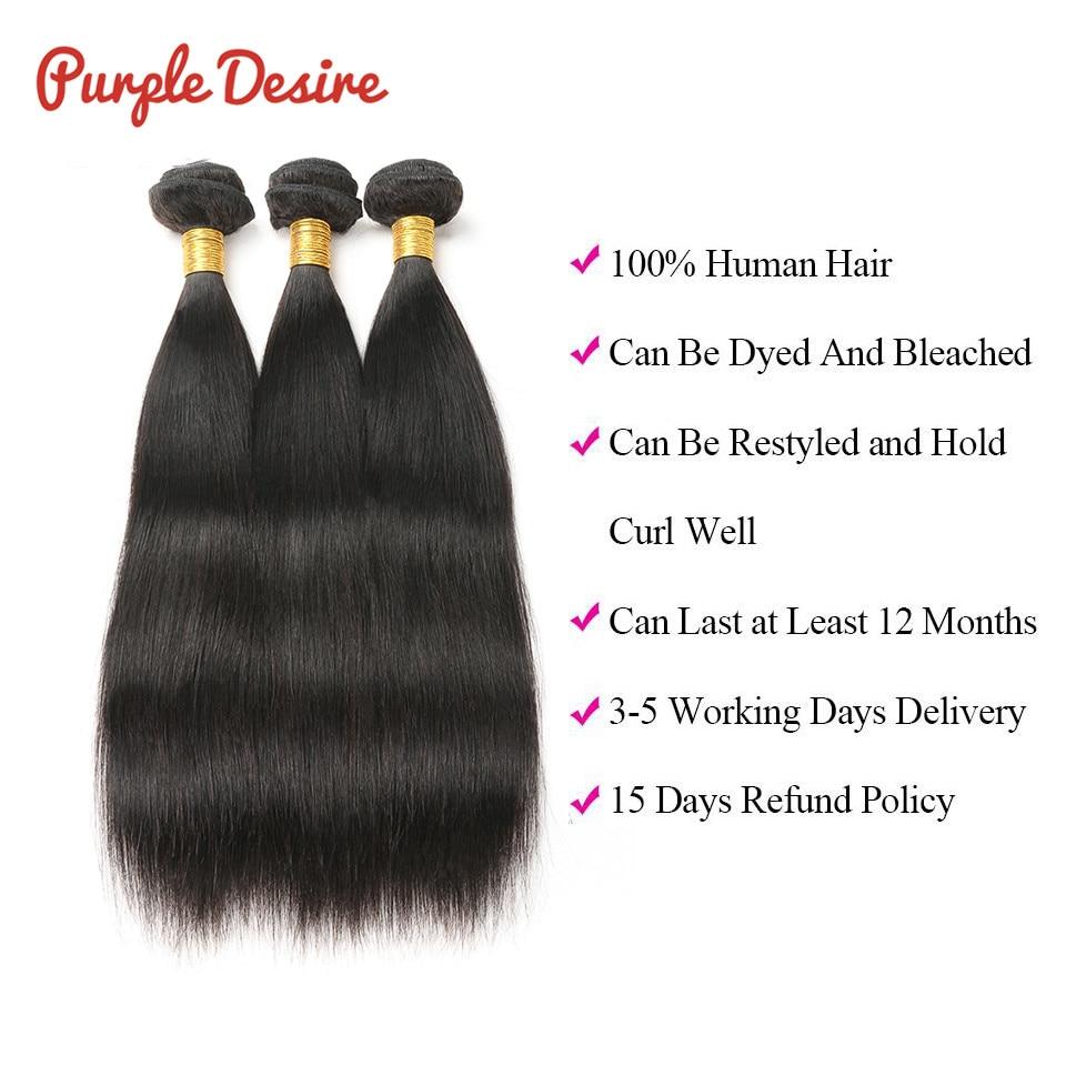 Peruvian Hair Bundles Straight Human Hair Bundles Lila Desire Remy - Mänskligt hår (svart) - Foto 6