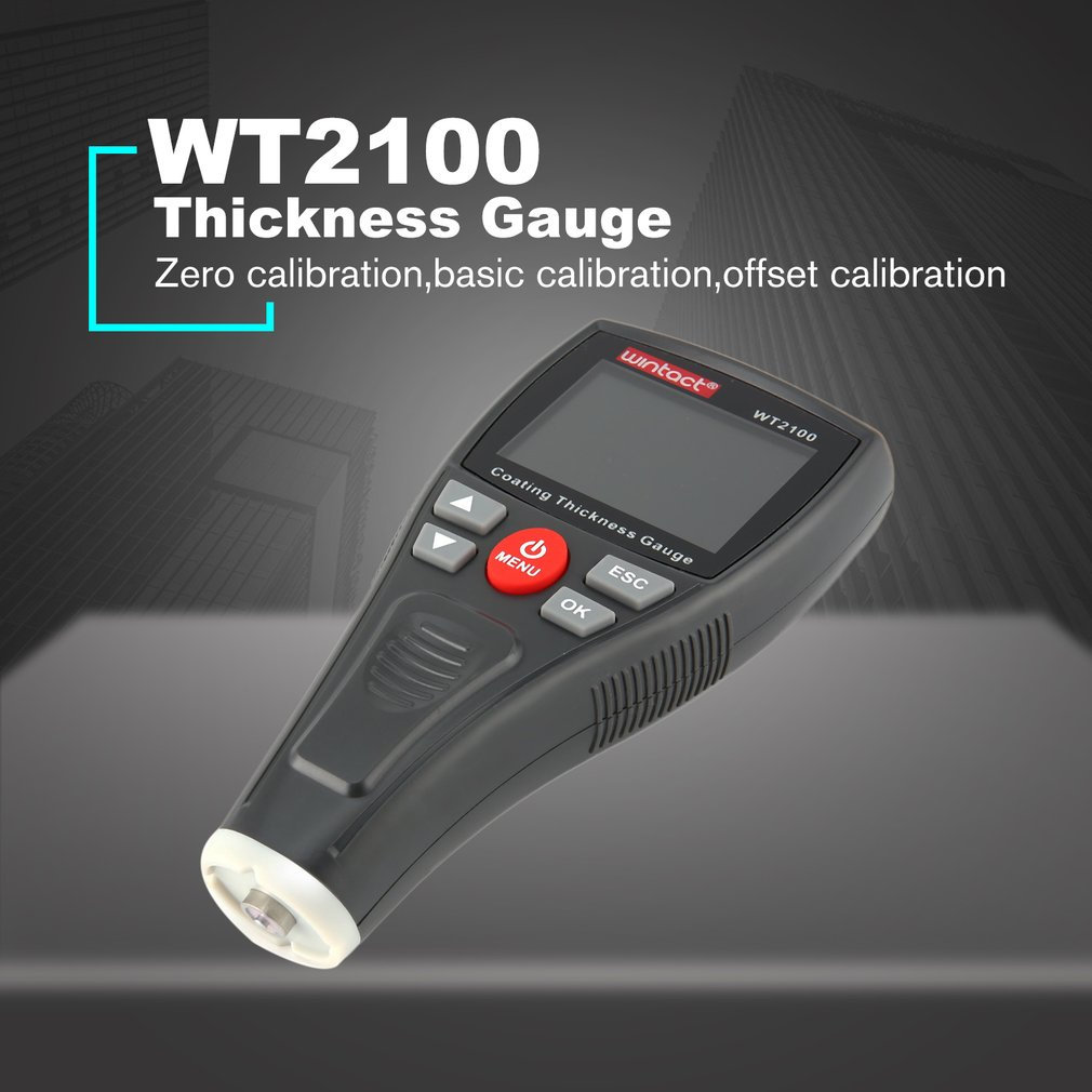 WINTACT WT2100 Mini Digital Coating Film Iron Thickness Gauge Car Meter Paint Painting Tester Handheld Testing Color LCD cm 8000 hexagon wet film comb for coating thickness tester meter 5mil 118mil