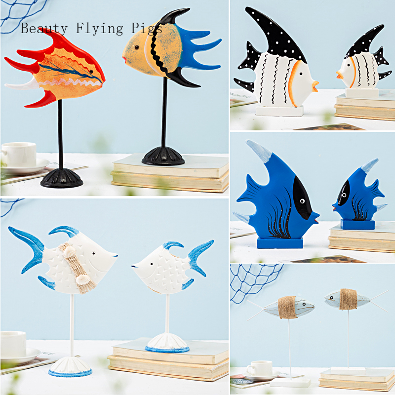 Mediterranean style home accessories blue and white wood on the fish ornaments kiss mouth fish home desktop decoration(China)