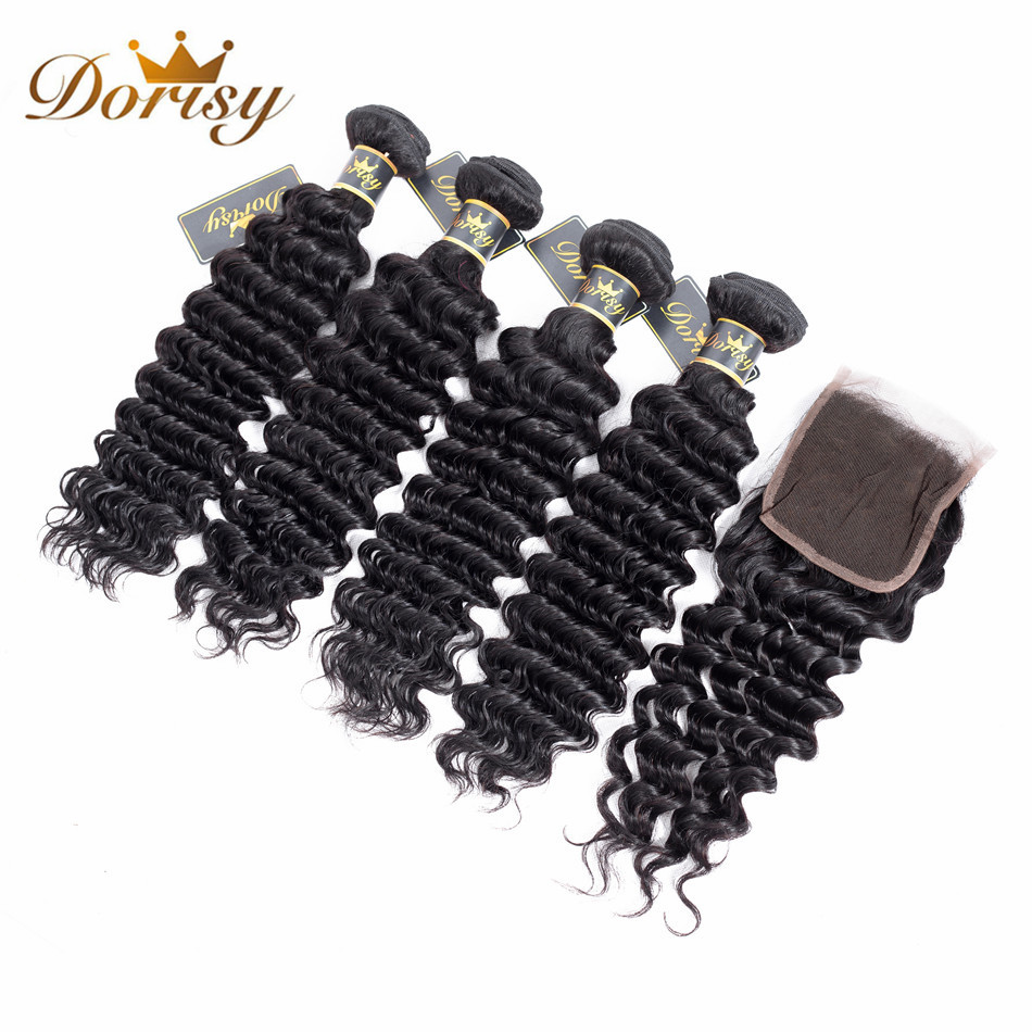 Dorisy Hair Indian Human Hair 4 Bundles With Lace Closure Deep Wave Non Remy Bundles Natural Color Bundles With Closure