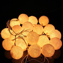 Hot Sale 20 Fabric Cotton Ball String Fairy Lights Wedding Holiday Party Home Decoration Lamp Bulb Blue