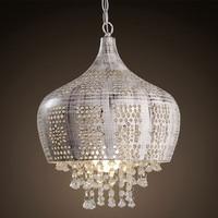 American Vintage Metal Led Pendant Chandelier Lighting Lustre Crystal Dining Room Led Chandeliers Lamp Bedroom Led Hanging Light