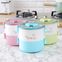 Keythemelife 304 Stainless Steel Lunch Boxes 2 Layers Microwave Bento Box For Kids School Picnic Food