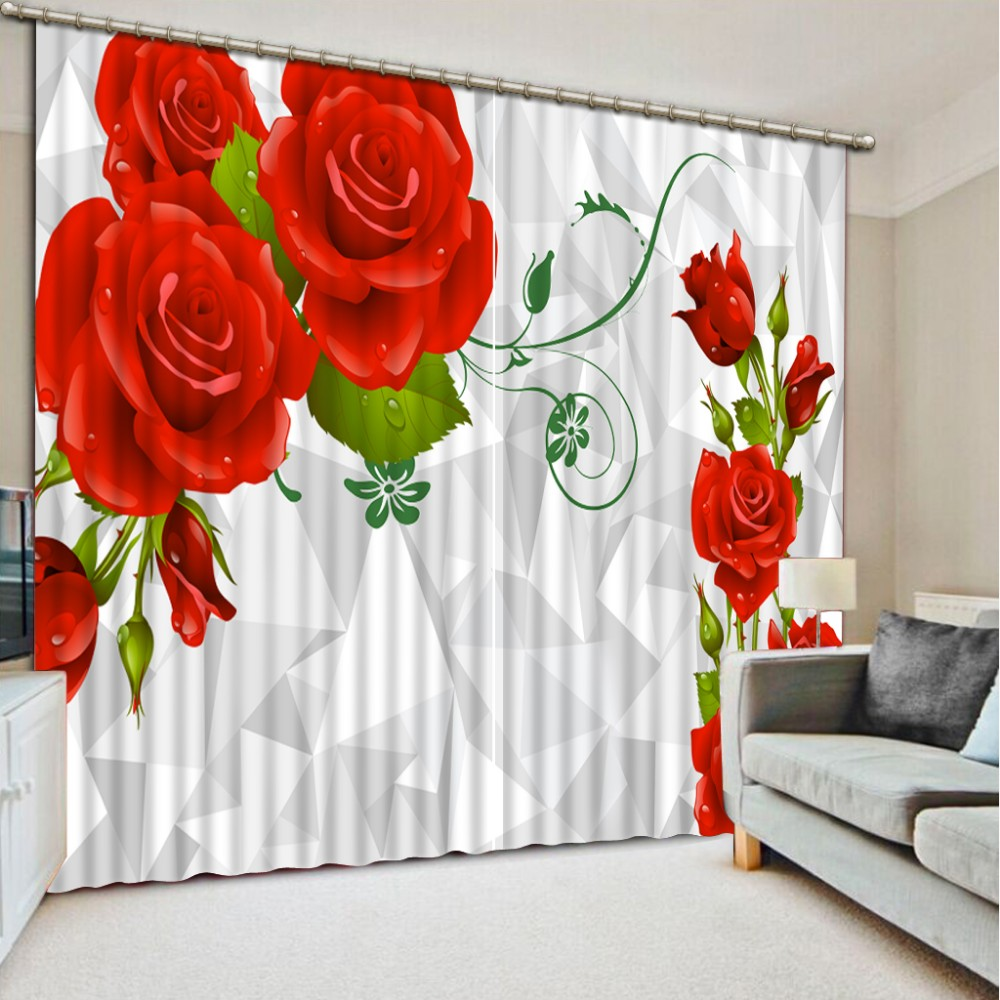 custom 3d stereoscopic curtains Red rose 3d living room curtains 3d ...