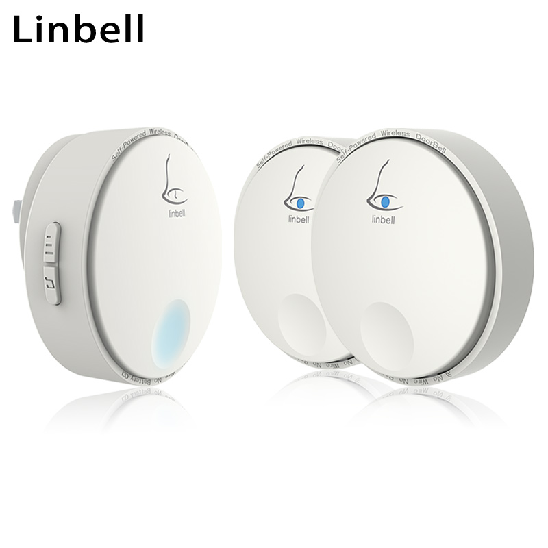 Linbell G2 door ring with 38 timbre ringstones door bell EU/US/UK plug wireless 433mhz remote dog doorbell 2 button 1 Receiver wireless service call bell system popular in restaurant ce passed 433 92mhz full equipment watch pager 1 watch 7 call button