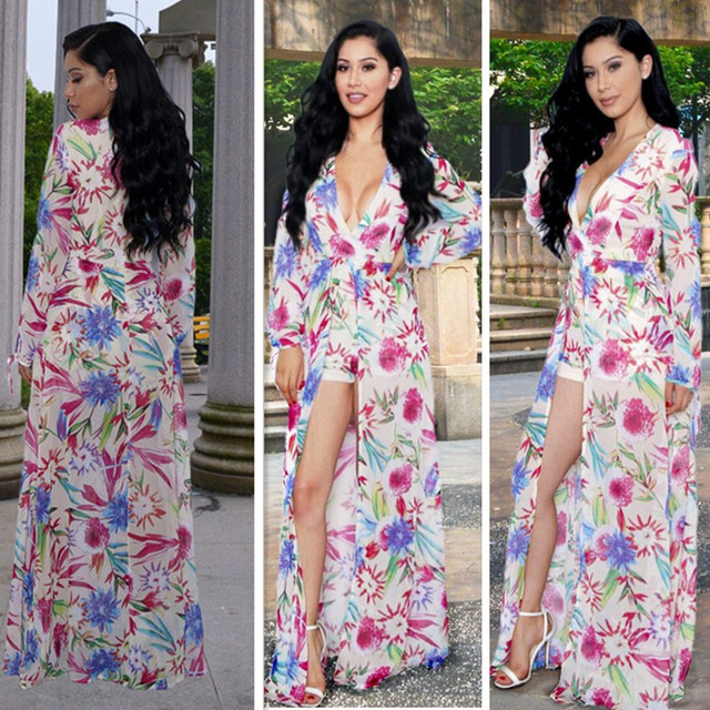 11830f092 S-XXL mujeres manga larga Maxi vestido 2016 verano floral romper corto  vestido mujeres Boho