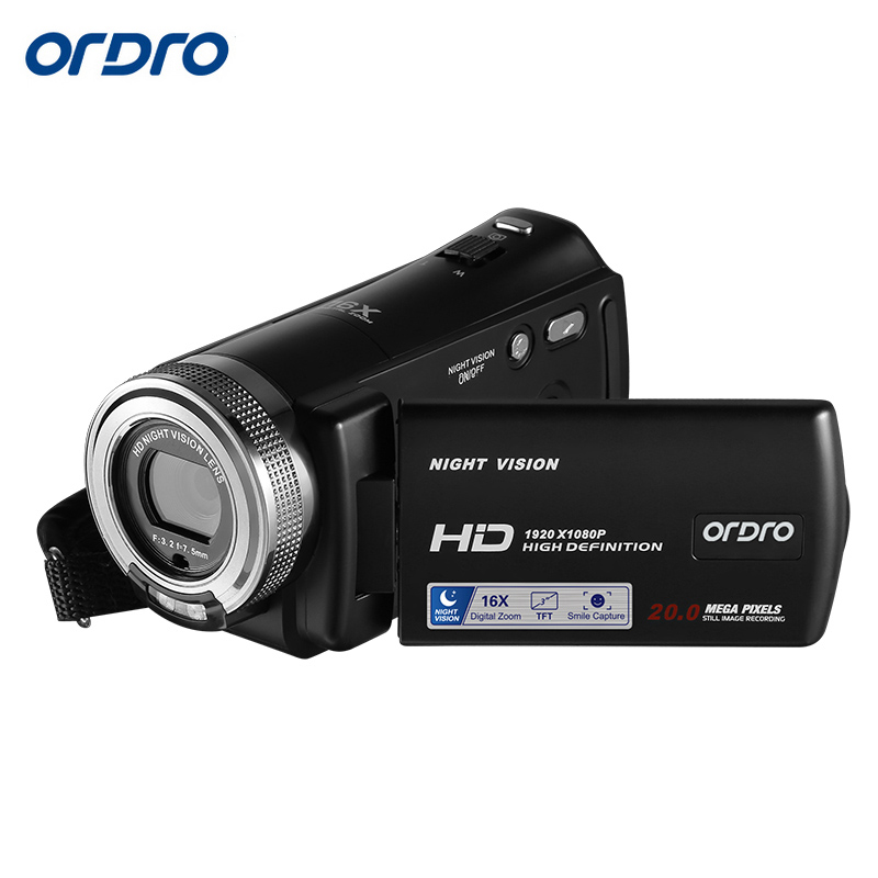 Original ORDRO HDV-V12 Mini Camera 3.0 Inch LCD 1080P HD Recording Video Camera Camcorder Night Vision Digital Zoom CMOS Sensor фотокамеры и аксессуары ordro hdv v88 16mp 1080p w ordro hdv v88