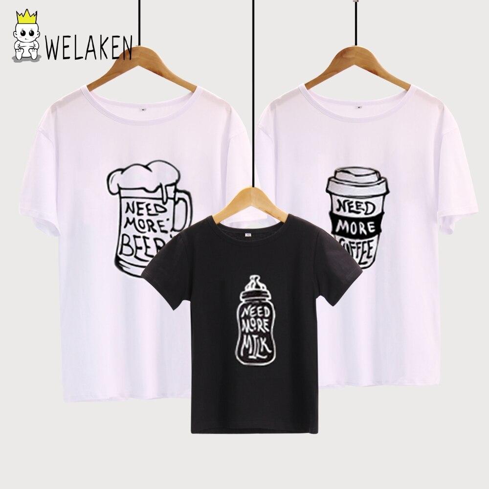 WeLaken Famille Look 2018 D'été Vêtements Pour La Famille Mère Père Chidren Tenues Coton T-shirt Lettre Imprimer Blanc Noir T-shirts