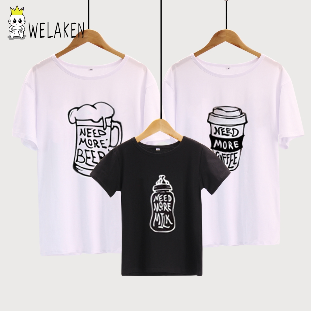 weLaken Family Look 2018 Summer Family Clothing Mother Father Chidren Outfits Cotton T-shirt Letter Print White Black Tees letter print raglan hoodie