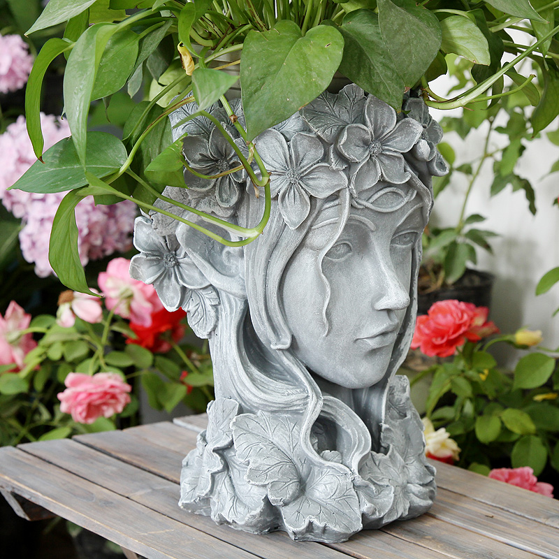 Goddess head flowerpot Greek large succulent plant creative Nordic beauty statue garden balcony grocery flower