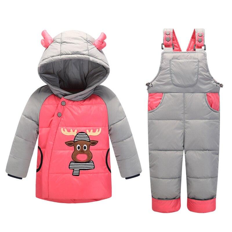 C902 0-4Y hiver enfants dinosaure cerf à capuchon Winterjas Meisjes garçons vêtements 90% bas filles manteau neige salopette infantile neige veste - 4