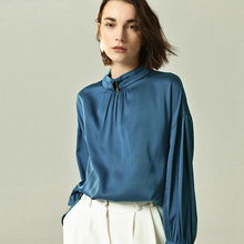 100% Heavy Silk Blouse Women Shirt Simple Design Long Sleeves 3 Colors Pullover Office Work Top Graceful Style New Fashion 2019