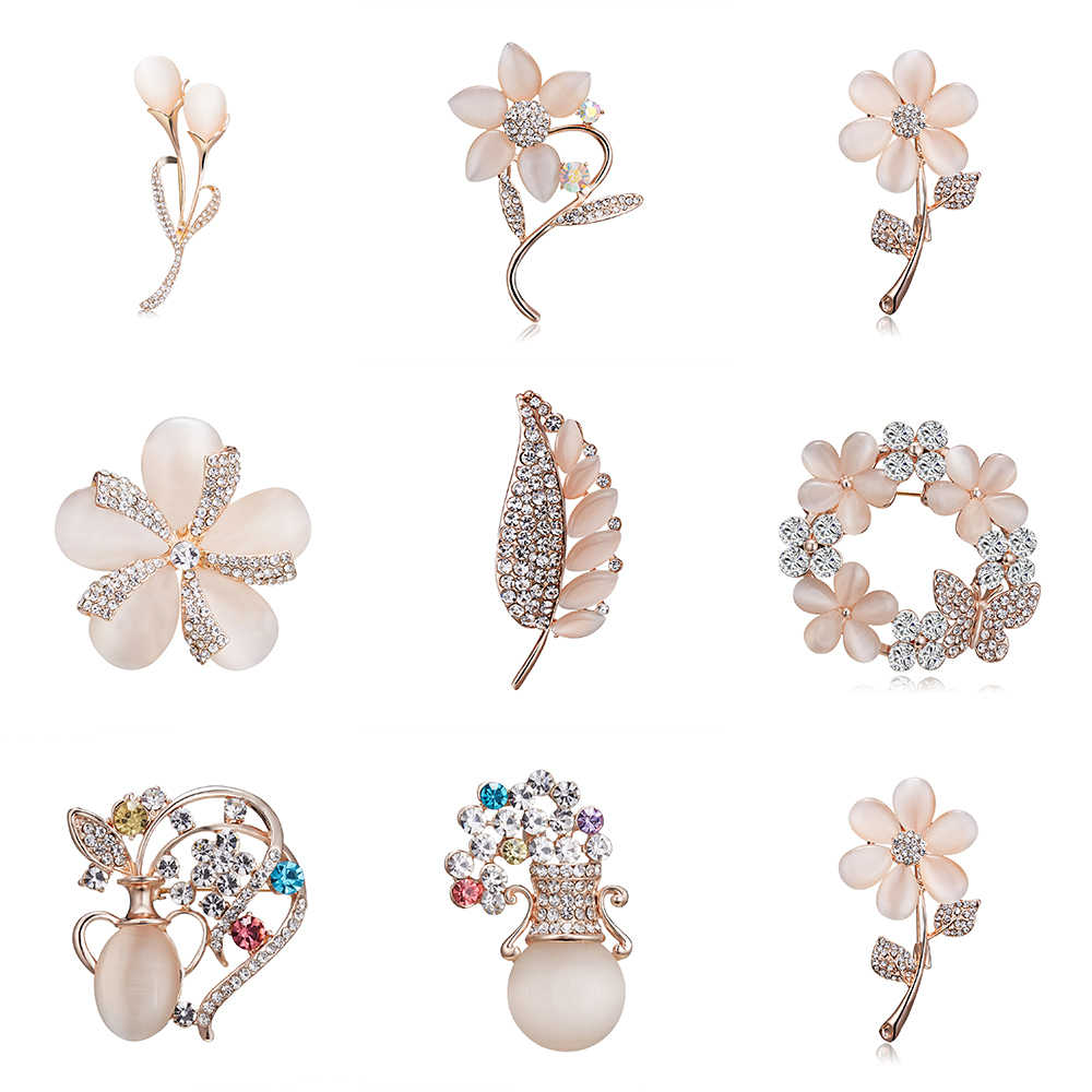 Flower Brooches Hot Selling Fashionable Opal Stone Flower Brooch Pin  Garment Accessories Birthday Gift