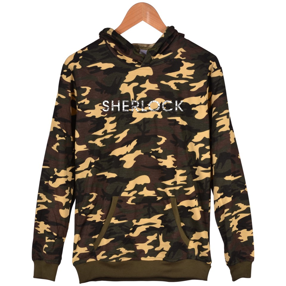 Hot Sale Sherlock Camouflage Men Hoodies XXS To 4XL And Sherlock Warm Sweatshirt Women With Battle Fatigues Clothing With Cap