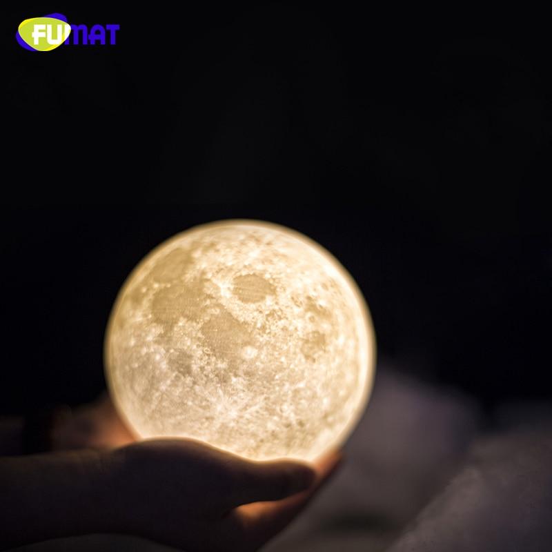 FUMAT 3D Baskı Ay Lambası Dokunmatik Algılama Anahtarı ile 3D Ay - Gece Lambası - Fotoğraf 4