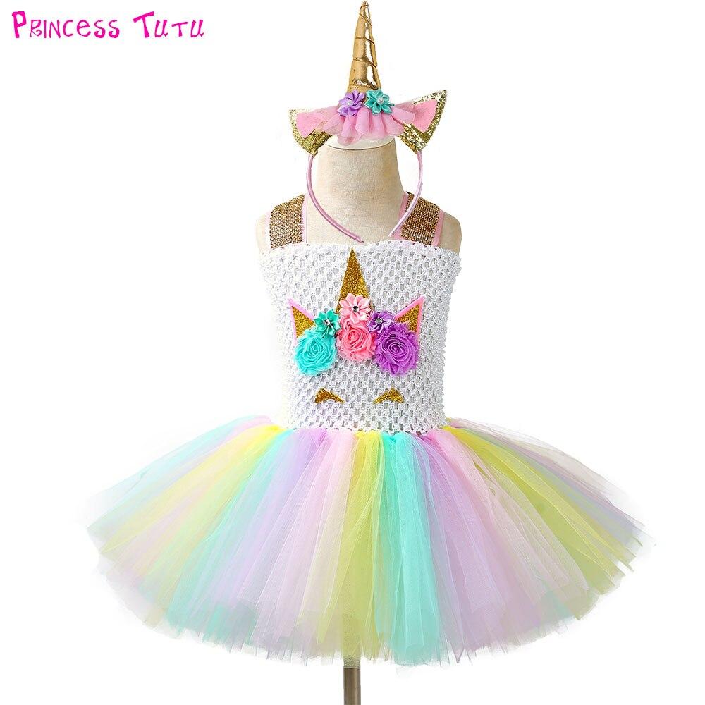Desfile unicornio tutú vestido y Diadema niños niñas flores cumpleaños fiesta vestidos niños Halloween Navidad traje
