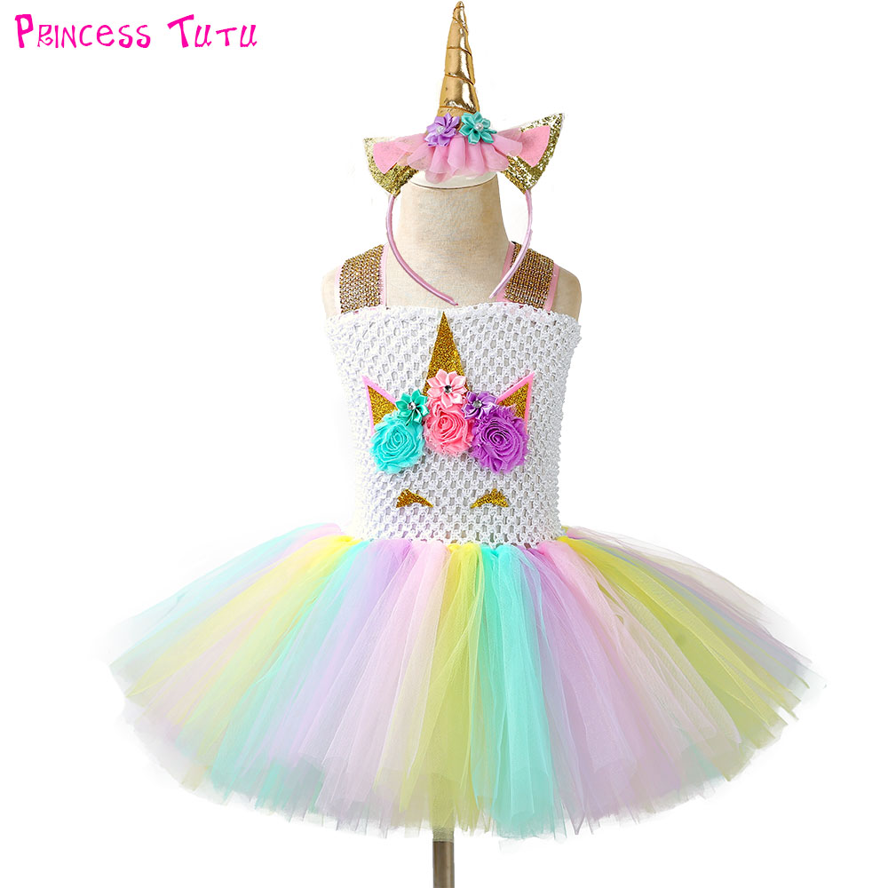pageant unicorn tutu dress and headband kids girl flowers