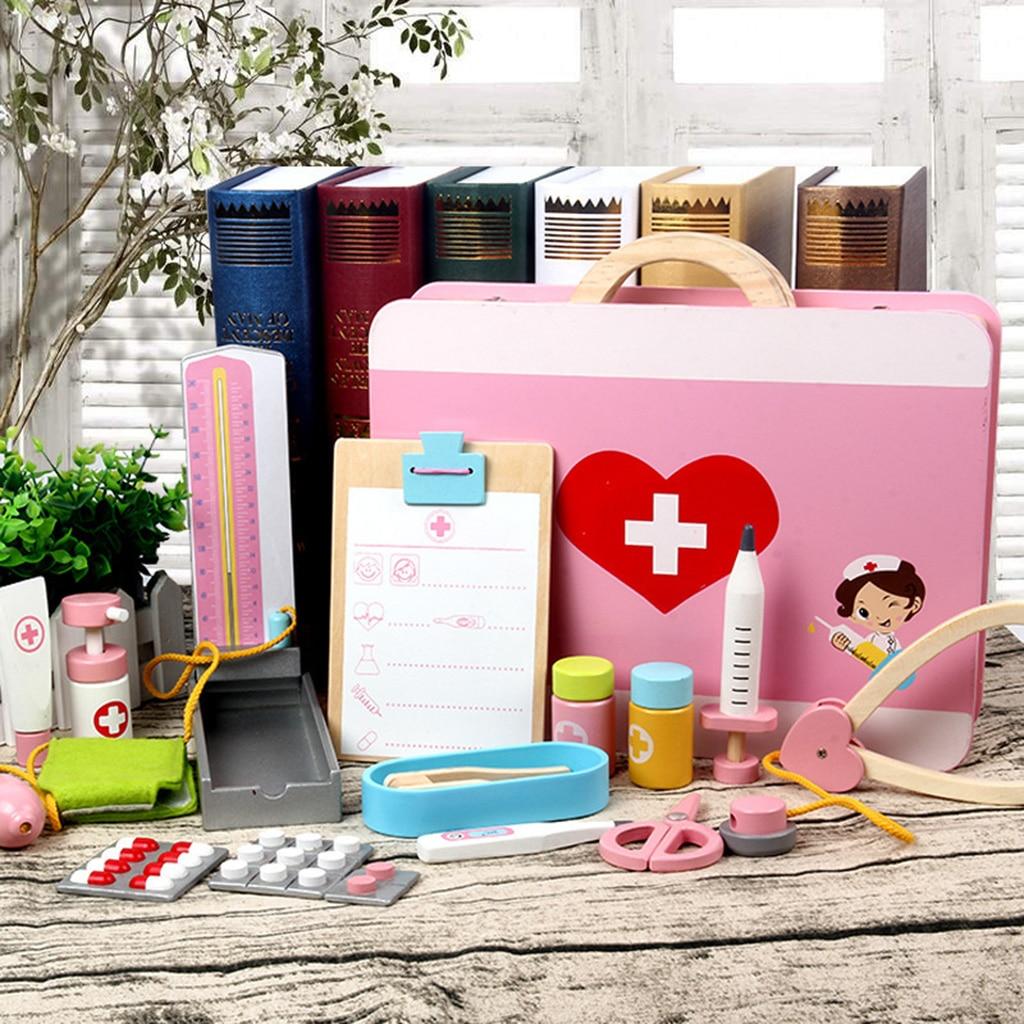 En bois médecin infirmière outil de transport cas jeu de rôle ensemble enfants jouet créatif développement jeu Center