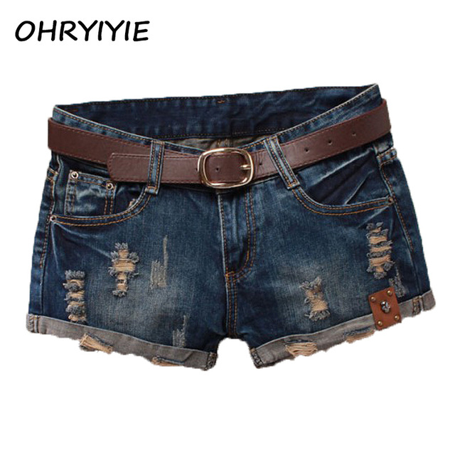 Summer Shorts Women 2018 Vintage Club Denim Shorts Sexy Hip Hop Skull Patch Plus Size XXL Ripped Shorts Without Belt