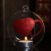 10cm Round Hanging Globe Glass Candle Holder Red Heart Wedding Decoration Table Supplier Valentine Gift Party