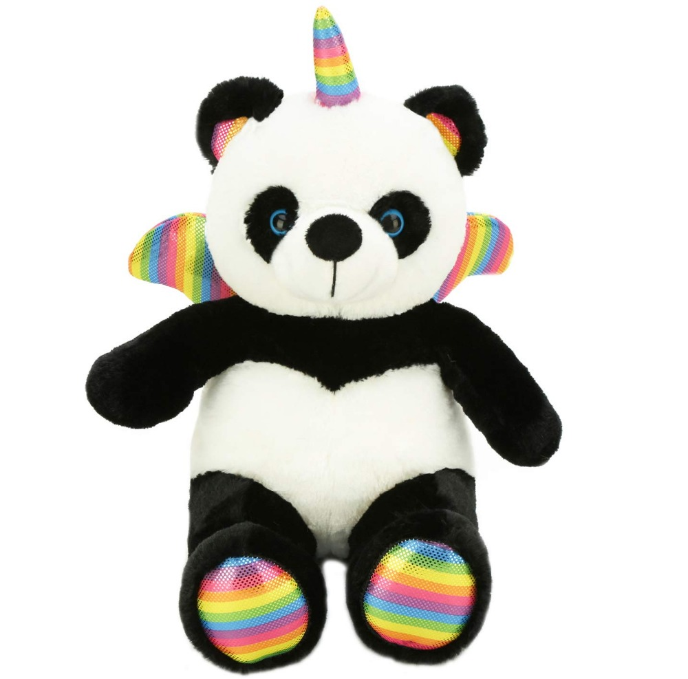 Shaun Tsy The Pandacorn Cute Panda Bear Stuffed Animal Plush Soft Unicorn Teddy Toy Pandicorn With Rainbow Wings And Horn Movies Tv Aliexpress