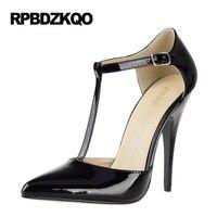 12 44 T Strap Red Crossdresser Fetish Bar 11 43 Pumps Big Size Stiletto Extreme Patent Leather Shoes Black Women High Heels 12cm