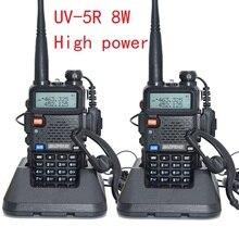 2 шт. UV-5R высокой мощности Версия ацетонитрил питания baofeng Настоящее 8 Вт для с подкладкой Радио УКВ увч двойной портативная рация с ремешком портативная рация УФ 5r