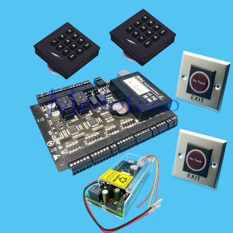 DIY Full access control panel System+12V5A Power+Keyapd KR102E rfid Reader+Infrared Exit Button Rfid Card Access Control C3-200