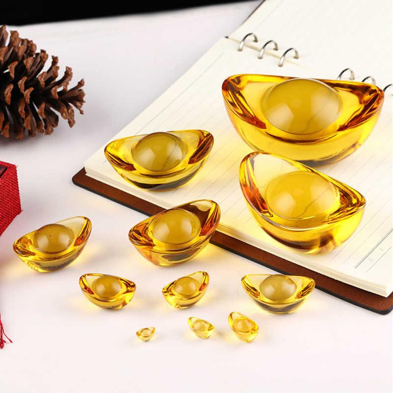 Glaze Citrine Ingot Buatan Cina Kuno Ingot Emas Feng Shui Cina Maskot Uang Lucky Fortune Kekayaan 1.4-7Cm