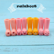 Blyth doll animal rain boots suit for 1/6 Joint body doll ICY 3cm plastic shoes pink and yellow color(China)
