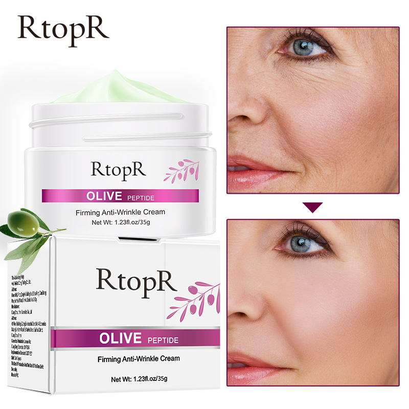 RtopR Olive Peptide Firming Anti Wrinkle Cream Reduce Face Fine Lines Tighten Pores Whitening Oil Control Acne hydrating skin in Facial Self Tanners Bronzers from Beauty Health