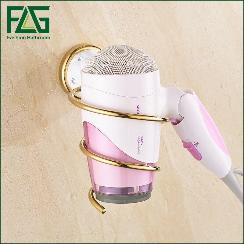 FLG Wall Mounted bathroom accessories Golden Finish Hair Dryer Rack stainless steel bathroom shelves Holder Shelf