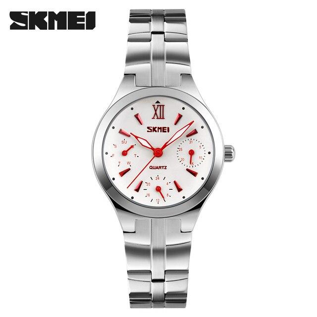 SKMEI Fashion Women Quartz Watches 6 Needle Multi-Dial Stainless Strap Watch Wom