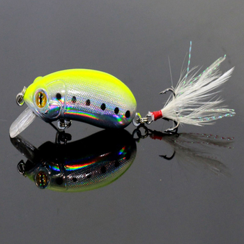 5PCsLot 6cm 10g Crank Fishing Minnow Lures with Feather Isca Artificial Hard Plastic Laser Reflective Minow Swim Baits