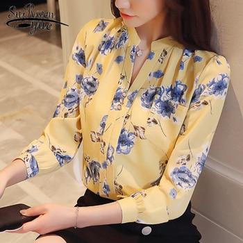 1bd92f6ed0 Moda 2019 OL blusas mulheres tops de manga longa de impressão chiffon  camisa blusa mulheres blusas femininas camisas das mulheres blusas Z0001 40