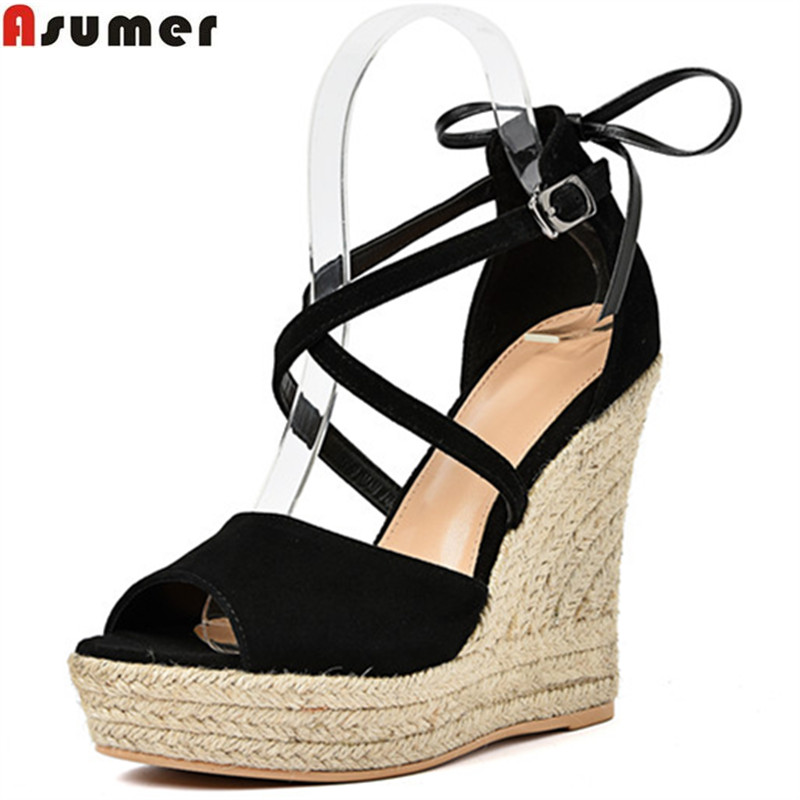 ASUMER black brown fashion summer shoes woman peep toe buckle elegant platform wedges sandals women suede leather high heels akexiya 2017 suede gladiator sandals platform wedges summer creepers casual buckle shoes woman sexy fashion high heels