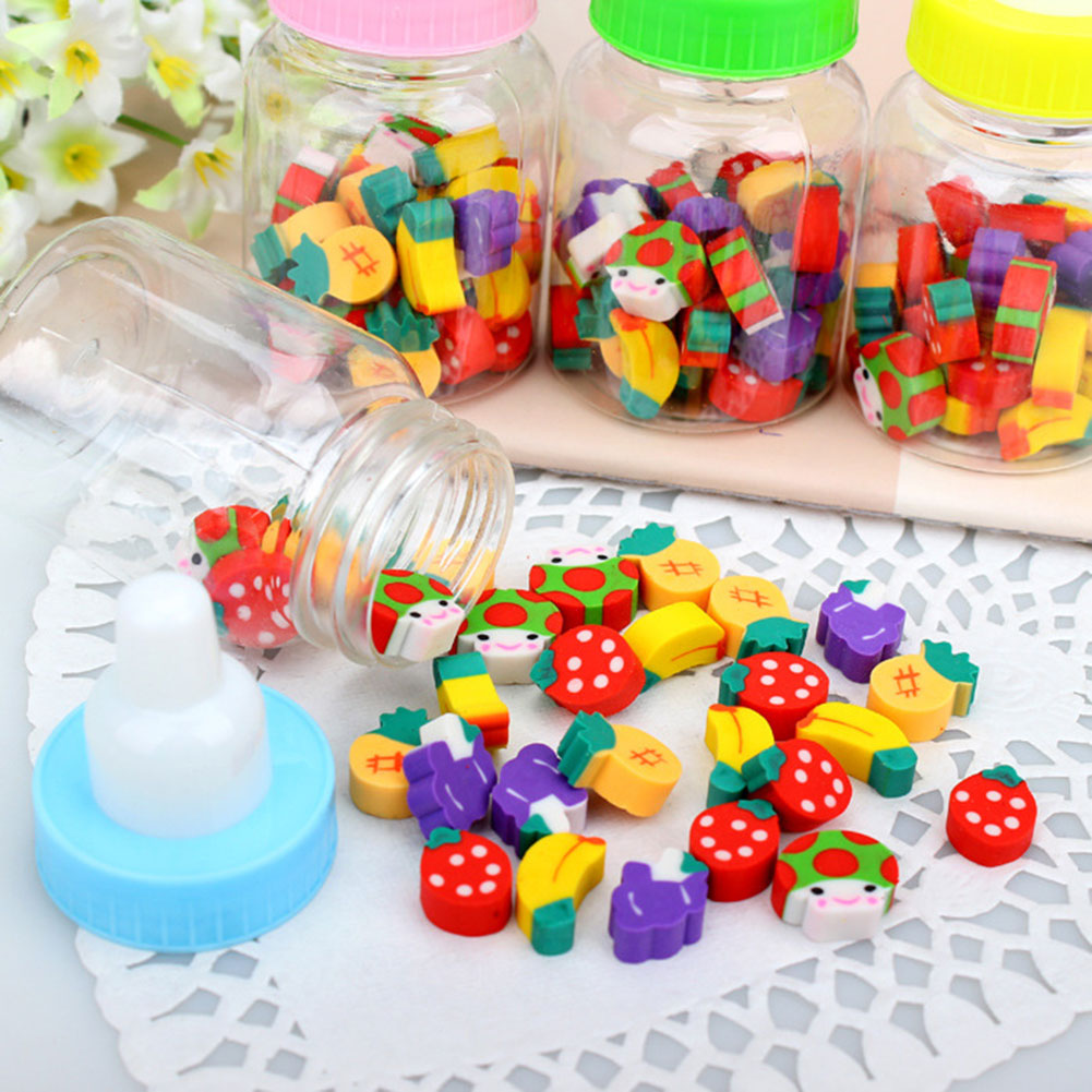 20Pcs/Lot Cute Mini Fruit Rubber Pencil Eraser In Milk Bottle Children Gift Toy For School Supplies Erasers Stationery