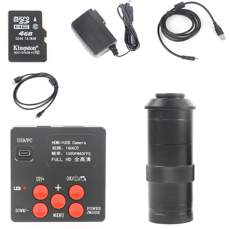 16MP 1080P FULL HD HDMI Industrial Microscope Camera Support 4G TF Card Storage Picture & Video Recorder+100X Zoom C-MOUNT Lens