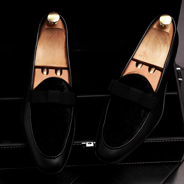 2019 Men Brand Dress Loafers Shoes Bow Tie Slippers Gentlemen Wedding Flats Casual Slip on Black+Red Suede Flats Shoes 21