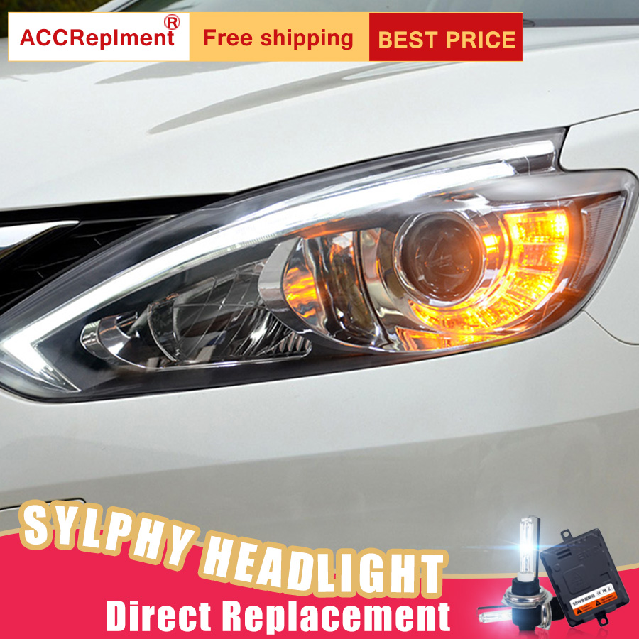 2Pcs LED Headlights For Nissan Sylphy Sentra 15-17 led car lights Angel eyes xenon HID KIT Fog lights LED Daytime Running Lights fog light lamps kit for nissan bluebird sylphy sentra 2013 2015