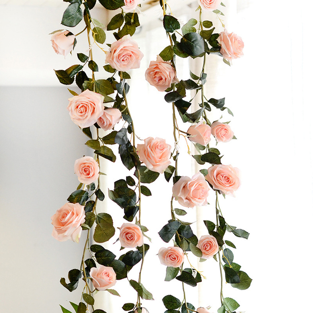 180cm Artificial Rose Flower Ivy Vine Wedding Decor Real Touch Silk Flowers String With Leaves for