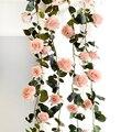 180cm artificial rosa flor ivy videira casamento decoração real toque flores de seda corda com folhas para casa pendurado guirlanda decoração