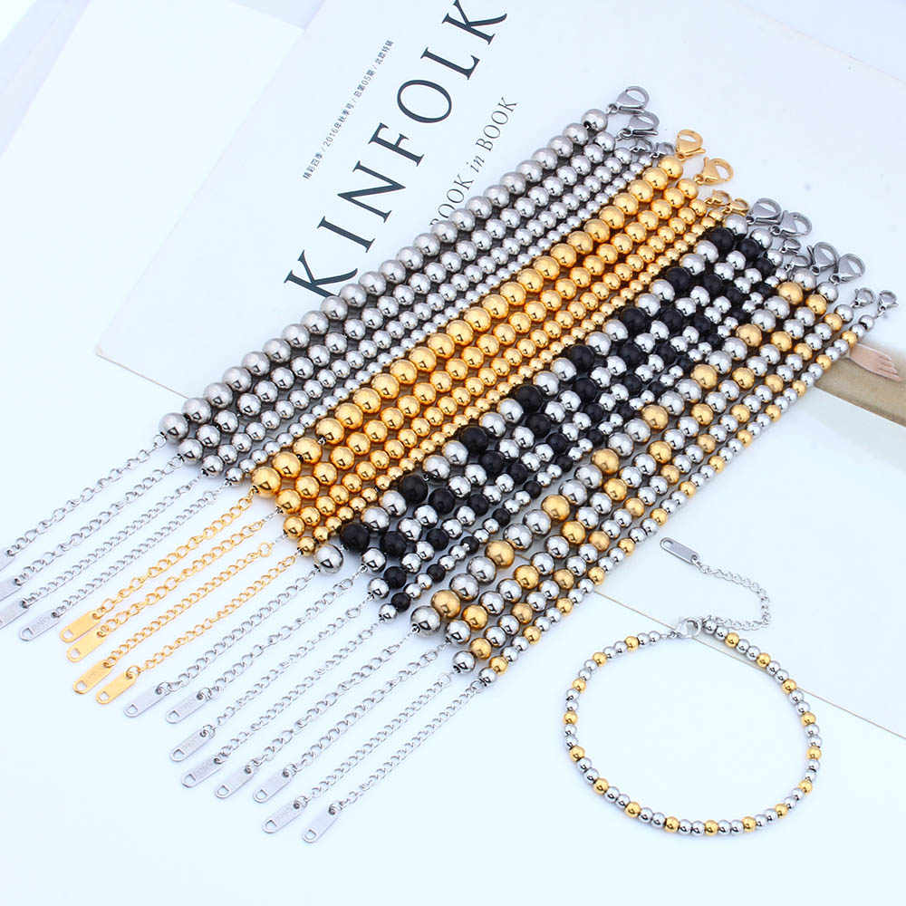 ZUUZ beads bracelet stainless steel Jewelry accessories charm chain link for women female bangles gold silver black friendship