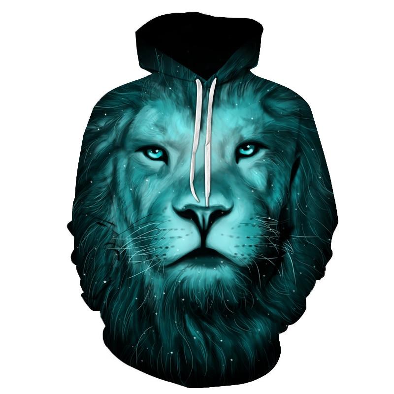 2018 Hooded 3D Print Animal Lion Women/Men Sweatshirt Hoodies with Hat Loose Star Warm Couple Hoodies Outwear Long Sleeve Unisex