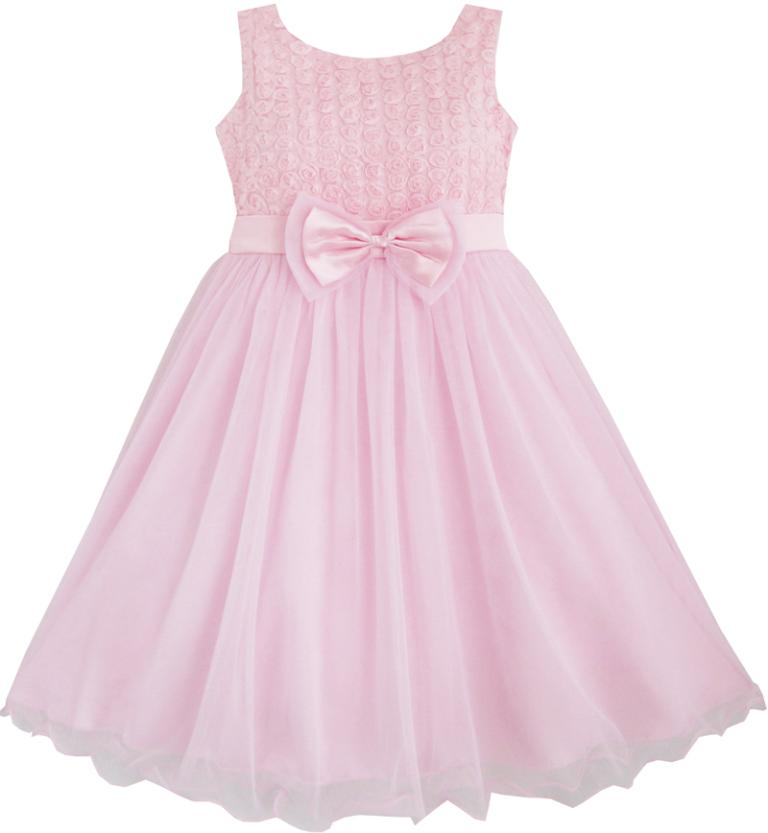 Girls Dress Rose Flower Pink Wedding Bridesmaid Child Clothes 2017 Summer Princess Party Dresses Children Clothes Size 2-12 girls dresses summer 2016 performance clothing girls princess dress children dress flower wedding dress girls clothes