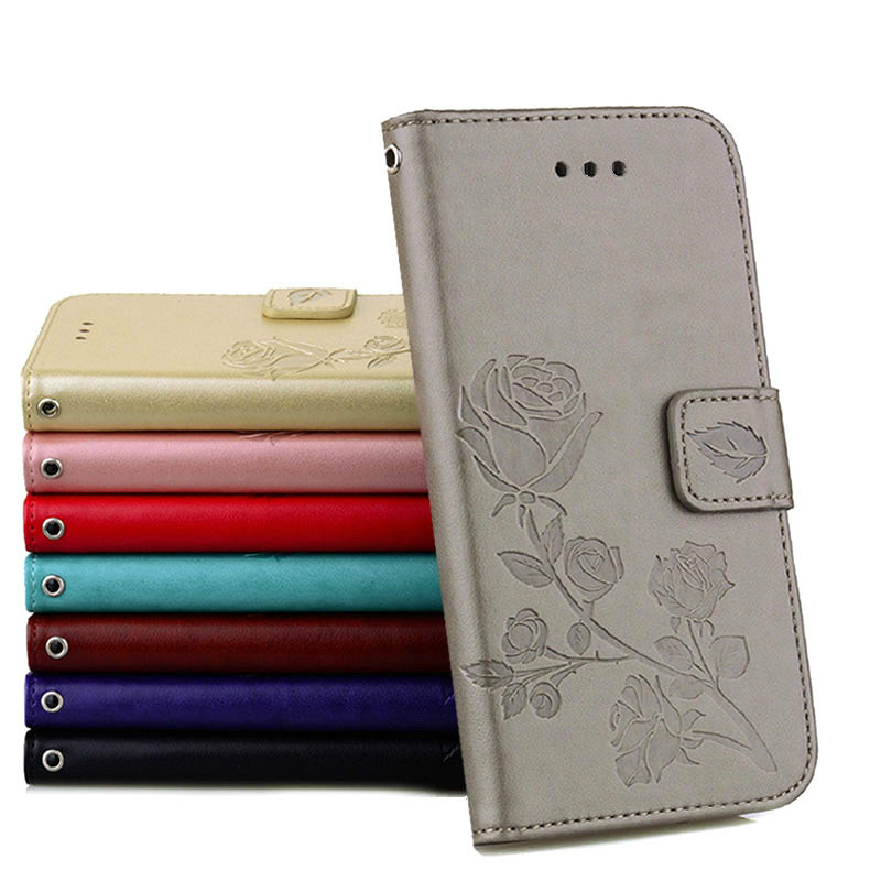 For iPhone 6 6S Case Luxury Rose embossed Card Slots Kickstand PU Leather Flip cover For iPhone 5 5S SE 6 6S 7 8 Plus X Case