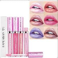 HANDAYAN 6 Colors Liquid Matte Lipstick Cosmetics Makeup Lip Lipsticks Metallic Lip Gloss Stick Make Up