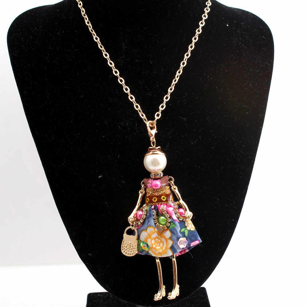 Declaração de charme Flor Boneca Colar Longo Corrente de Ouro Artesanal Vestido Francês Pingente Boneca Notícias Liga Meninas Mulheres Moda Jóias