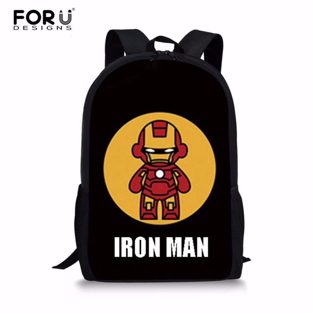 FORUDESIGNS Customized School Bags Iron Man Printed School Backpack for  Girls Boys Schoolbag Backpacks Children Book 3e590190d2